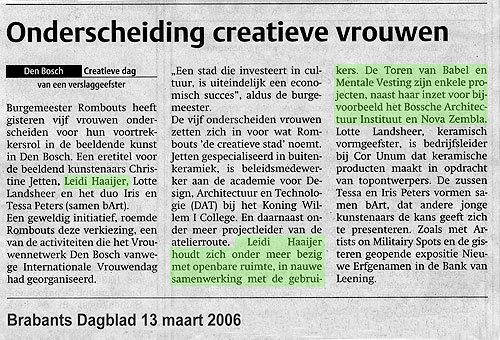 Article in the Brabants Dagblad (newspaper): Onderscheiding creatieve vrouwen